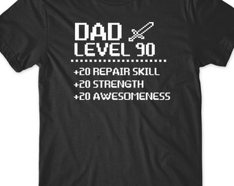 Dad Shirt Funny Gamer T Fathers Day Shirt Gift Present Tee New Daddy to be Baby Shower Gift Papa Retro Video Gaming Rpg Level 90 Dad Best