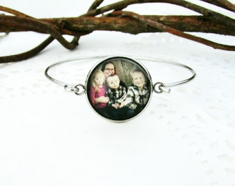 Personalized Photo Bracelet | Stainless Steel | Picture Jewelry | Swing Clasp | Hook & Eye | Your Photo Cuff Bangle | Gift for Her |  Hinged
