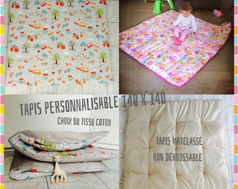Tapis de jeux Géant Personnalisable non déhoussable - 1 Tissu coton motifs au choix - Tapis d'éveil/ jeux Léger, confortable alaska dream