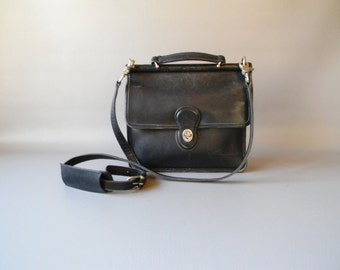 Vintage COACH Black Leather Crossbody Purse