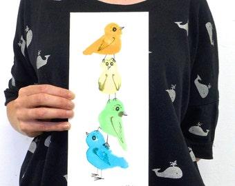 Colorful wall art, original artwork, bird art, bird painting, nature decor