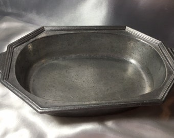 Pewter Oblong Casserole Dish; pewter, casserole dish, oblong dish