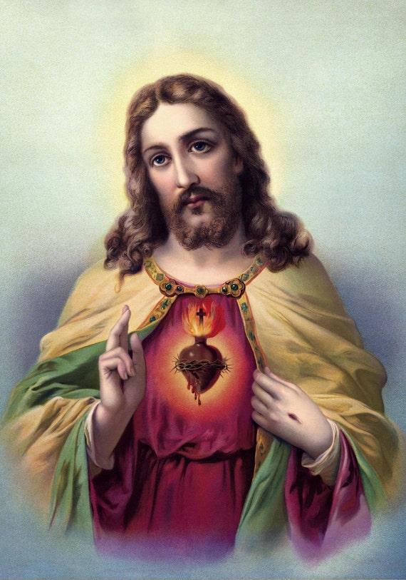 Jesus Print Catholic prints Jesus pictures Poster A4-A3 Sacred