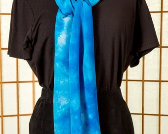 READY To SHIP Blue & White Crepe de Chine 100% Silk Long Scarf Hand Dyed
