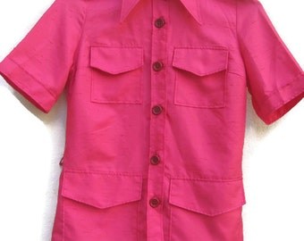 70s BLOUSE HOTPINK buttonUp/Down TOP Womens Shortsleeve Blouse Slimfit Pointed Collars Hipster Top 1970s vintage blouse Women's Small S