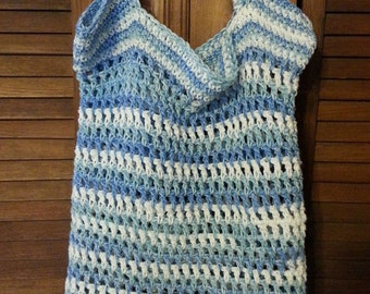 100% Cotton Crochet Mesh Net Beach Bag Pool Tote Summer Market Bag  Blue White - Earth Friendly Reusable Compact Portable