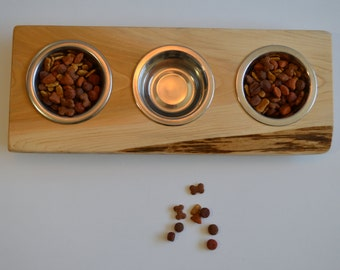 """NEW!! Cat bowl or puppy dish stand, """"Mini Three"""" crafted from live edge fir/cedar wood decor with three 1/2 pint stainless dishes"""