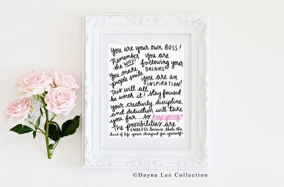 Entrepreneur/Girl Boss Encouragement! - Inspirational Hand Lettered Art Print