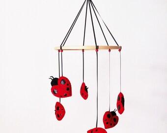 Hand stitched felt Ladybird Nursery Mobile
