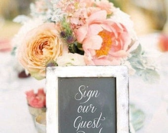 Wooden Chalkboard Sign with Easel, Wedding Sign, Rustic Wedding Decor, Rustic Home Decor