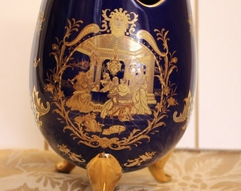 Dark Blue and Gold Egg Style Limoges Footed Vase
