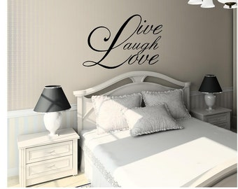 Vinyl Live, Laugh, Love Wall Decal, Inspirational Quotes, Wall Quote