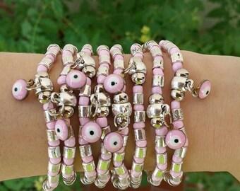 friendship bracelet - Silver metal beads - yoga brecelet - evil eye - silver jewelry - amulet jewelry - praying jewelry - stretch bracelet