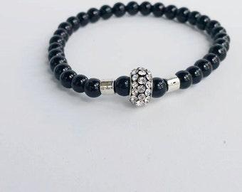 Mans black bracelet - Beadead Bracelet - Gemstone Bracelet - stretch bracelet - beadwork bracelet - black bracelet - gift for him