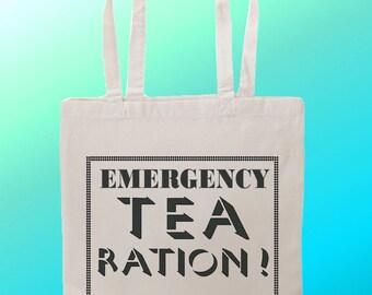 Emergency Tea Ration - Reuseable Shopping Cotton Canvas Tote Bag