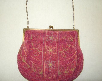 Antique Pink Micro Glass Beaded Purse w Floral & Fauna Design Brass Frame