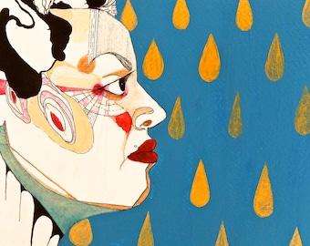 Golden Rain acrylic portrait on paper