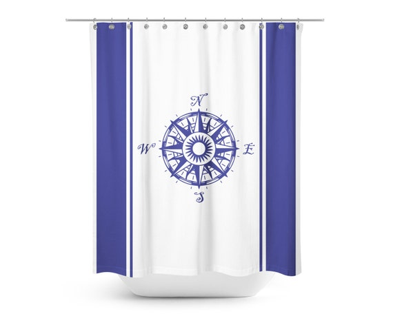 Blue and white compass shower curtain kids minimalist shower curtain