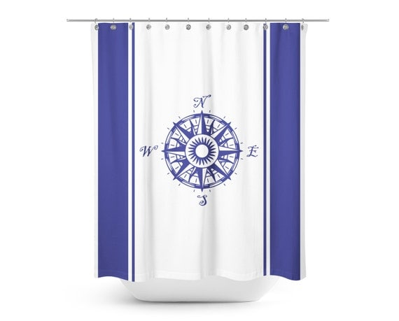 Il 570xnNautical Blue and White Compass Shower Curtain   Kids Minimalist  . Navy Blue And White Shower Curtain. Home Design Ideas