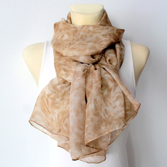 Brown Silk Scarf - Fashion Floral Scarf - Womens Shawl - Unique Fabric Scarf - Light Chiffon Scarf - Fall Accessories Christmas Gift for her