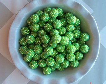 20mm Lime Green AB Rhinestones Chunky Bubble Gum Beads Set of 10