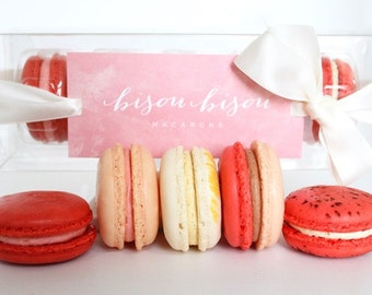 French Macaron Gift Raspberry-Strawberry-Vanilla-Raspberry Chocolate-Red Velvet Edible Macarons- Gift Boxed--Best French Macaron-- Biso