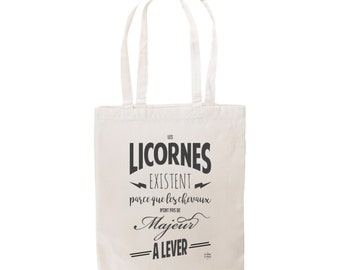 Tote bag french message about unicorns and horses gift bag shopping by decartonetdetoiles