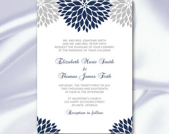 Floral Wedding Invitation Template Diy Navy Blue Silver Gray Bridal Party Invites Printable Cards