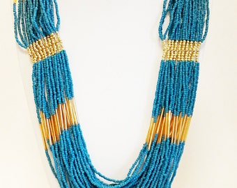 Teal and Gold Long Statement Necklace / Multi Strand Necklace.