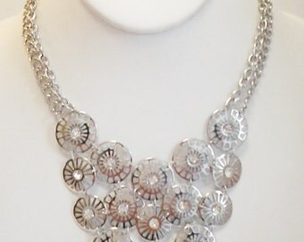 Silver Chain Circles with Crystal Clear Stones Necklace / Silver Circles Crystal Clear Stones Bib Necklace.
