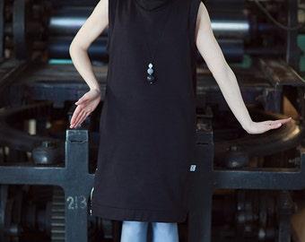 Midi Lenght, Black Minimalistic, Sleeveless Dress, Straight Cut, Zipper Detail, Sarafan, Women Fashion, Women Clothing, Handmade