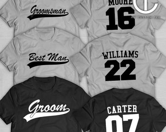 7 Groomsmen Shirts - Bachelor Party with Number - Baseball Sports Theme - Groomsman - Set of 7 T-Shirts Tee Custom Customizable