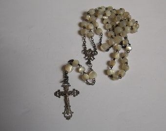 antique silver Rosary beads of Pearl 19th punch french boar