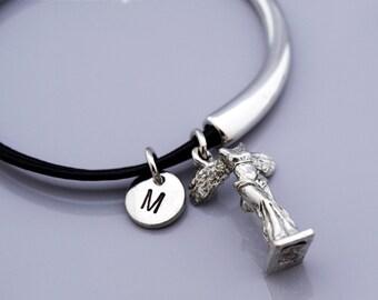 Nike Goddess bangle, Nike Goddess bracelet, Nike charm jewelry, Nike Greek Goddess, Goddess of victory, Leather bracelet, Leather bangle