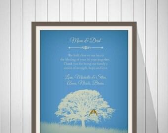 50th Wedding Anniversary Gift, 50th GOLDEN Anniversary Gift, Personalized Wedding Anniversary Art Print, Custom Colors - 49977