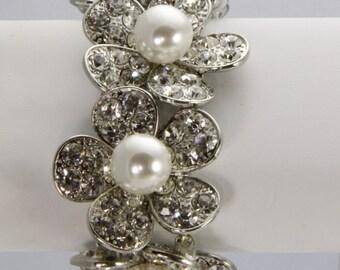 Rhinestone and Pearl Bridal Stretch Bracelet