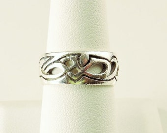 Size 8.5 Sterling Silver Filigree Celtic Band Ring