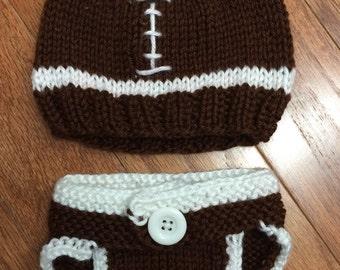 Football hat & diaper cover set