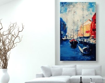 "oil painting, modern art, ""Yachts in City"", canvas art, paintings on canvas, wall art, abstract painting, canvas art, canvas painting"