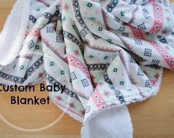 Custom Baby Blanket, Minky Baby Blanket, Modern Quilt, Handmade Blanket
