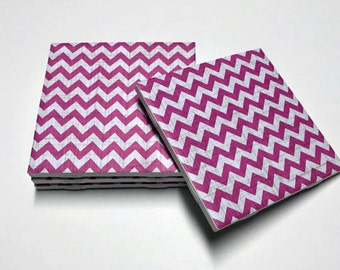 Pink Chevron Coasters - Pink Drink Coasters - Pink Decor - Chevron Decor - Tile Coasters - Ceramic Coasters - Table Coasters