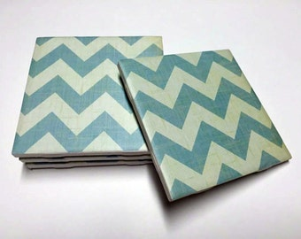 Light Blue Chevron Coasters - Chevron Drink Coasters - Chevron Decor - Tile Coasters - Ceramic Coasters - Table Coasters