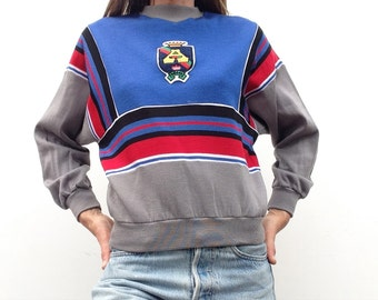 Vintage Adidas 80s Sweater pull de survêtements Adidas Production ventex bleu royal patch deadstock