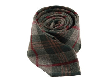 Plaid Cotton Ties.Grey Green And RedCheck Ties.Mens Ties,Business Ties.Slim Ties.