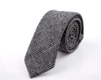 Dark Grey Wool Ties.Mens Glen Neckties.Groomsmen Gift.Birthday Gift.Ties For Graduation
