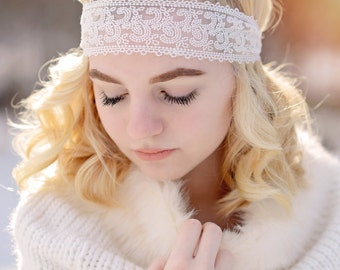 Stella  Lace Headband - Wedding Headband - Lace Headband - Vintage Inspired - Flower Girls - Photo Prop - Teen Headband - Adult Headband