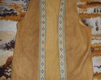 Vintage Retro Well Loved Tan Suede 1970s Waistcoat UK Size Small (S) / Medium (M)