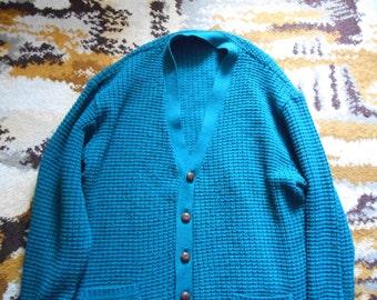Vintage Retro 1970s Dark Green Blue Acrylic Mens Cardigan By Paramount UK Mens Size L