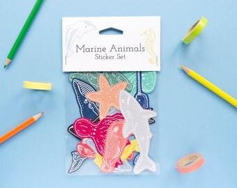 Marine Animals Sticker Set / Twelve Sticker Pack / Animal Sticker Set / Planner Stickers / Cute Sticker Set / Journal Stickers / Narwhal