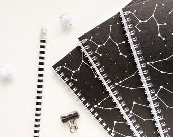 Constellation Notebook // Black and White A5 Spiral Bound Journal with Zodiac Constellation // Star Sign Notebook // Gift for her //